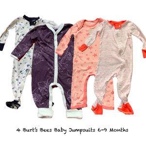 4 Burt's Bees Baby Cotton Jumpsuits, 6-9 Months